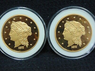 """1877 $50 Half Union Pattern 24K Layered Gold """"Copy"""" Proof Set Of 2 In Plastic"""