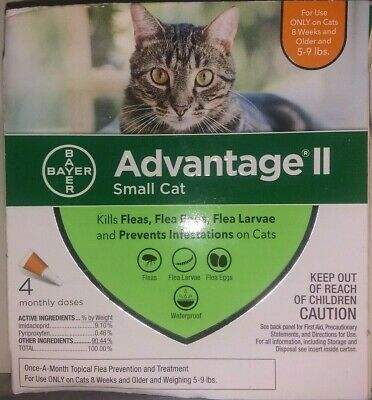Bayer Advantage II for Small Cats 5-9 Lbs - 4 Pack -  Genuine EPA Approved