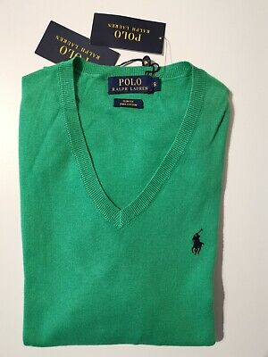Mens BNWT Polo Ralph Lauren Golf Green V neck Slim Fit Sweater (S) RRP £110
