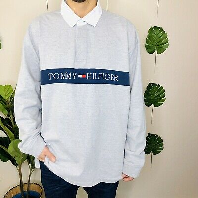 Vintage Tommy Hilfiger Spell Out Embroidered Long Sleeve Polo Pullover Shirt XXL