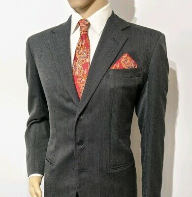 Anderson & Sheppard Bespoke Hand Made Mens Suit Charcoal UK 40R W32 L32 RRP£2995