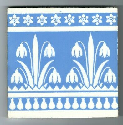 Minton's Snowdrops Tile Christopher Dresser Blue and White c. 1890