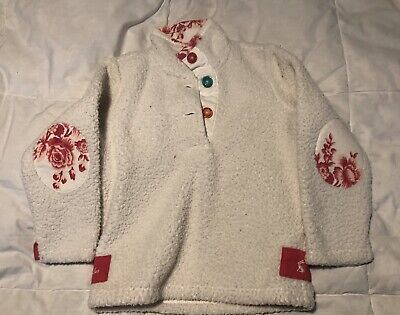 Girls Joules White/cream And Pink Jumper Age 4 Years VGC