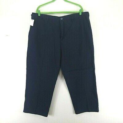 NEW Linea Uomo Mens Flat Front Pants 44/30 Straight Fit Chinos Navy Blue
