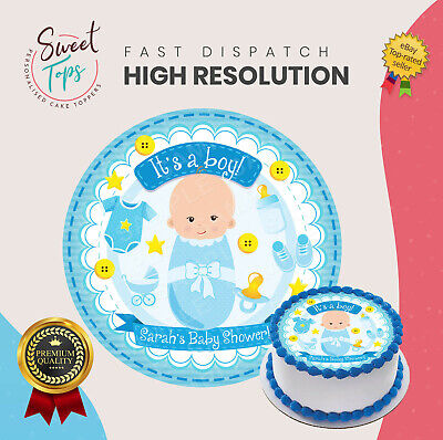 Boys Baby Shower Edible Round Birthday Cake Topper Decoration Personalised