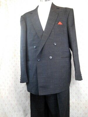 Vintage 80s Charcoal Grey 2-Piece Travellers Wool Blend Double Breasted Suit XL