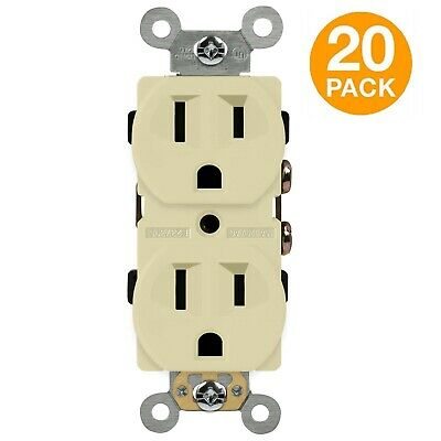 ENERLITES Duplex Round Receptacle 15A 125V Outlet (No TR) Almond 20 Pack