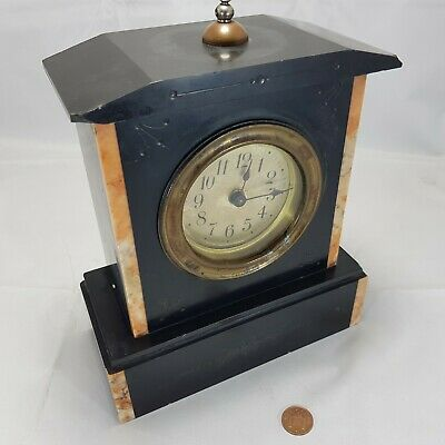 Aged VintageVictorian French Black Slate and Marble Mantle Clock