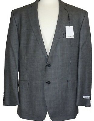 NEW Calvin Klein 42 Regular Charcoal Houndstooth Two Button Men's SportCoat Sale