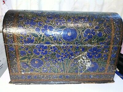 Antique kashmir indian wooden&papier mache black lacquer letter rack hand painte