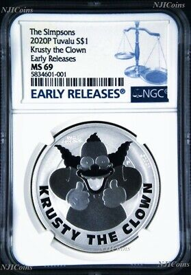 2020 Simpsons Krusty the Clown $1 1oz .9999 Silver COIN NGC MS69 ER Simpson
