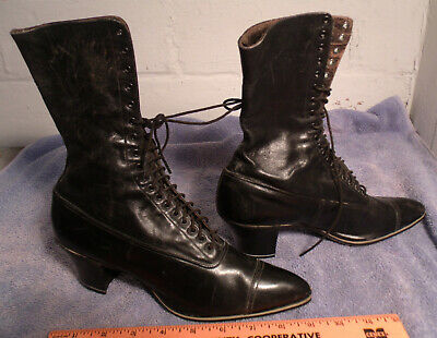 Antique Victorian Leather Ladies Womens Girls Boot Shoes Black