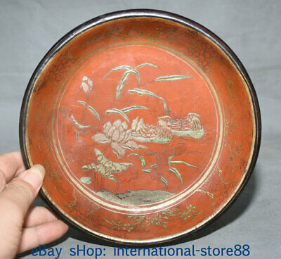 "8"" Old Chinese Wood Lacquerware Dynasty Palace Mandarin Duck Lotus Plate Dish"