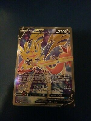Pokemon TCG Sword and Shield 195/202 Zacian V Full Art Rare Card Near Mint/ Mint