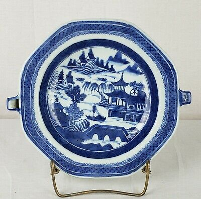 Antique Chinese Canton Export Blue And White Porcelain Warming Dish Very Fine