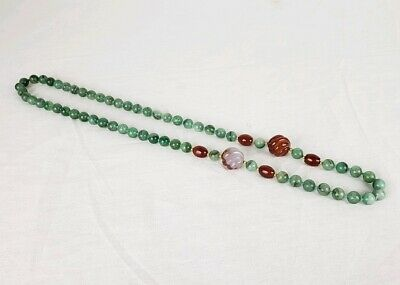 Art Deco Necklace Chinese Carved Jade Mottled Green Hardstone Agate Gold Beaded