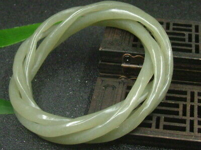 Antique Chinese Celadon Nephrite Hetian-jade bangle 4-Twisted wire bracelet