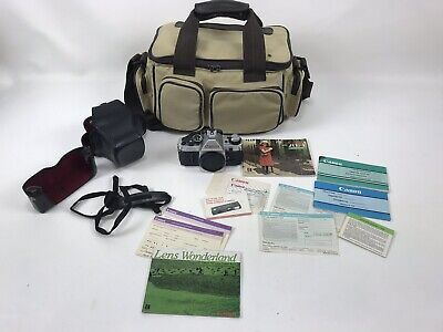 Canon AE-1 Program 35mm SLR Camera JAPAN With Paperwork leather case large bag