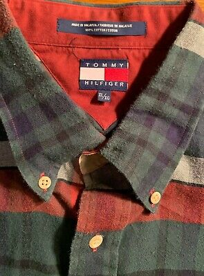 Vintage Tommy Hilfiger Button Up Plaid Flannel Green Blue Red Men's XL