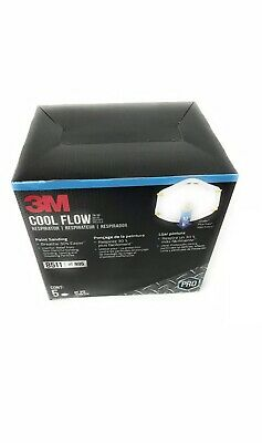3M 8511 Respirator Mask N95 Cool Flow Exhalation Valve 5-Pack Made in USA