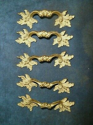 """5 Vintage French Provincial Shabby Chic Brass Drawer Pulls Handles ~ 5"""" Kbc"""
