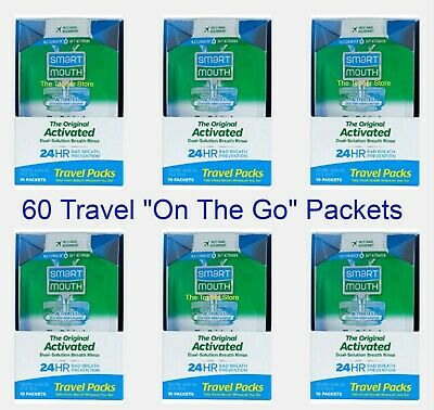 60 SmartMouth Mouthwash Travel Packets, Clean Mint - Smart Mouth - For Work