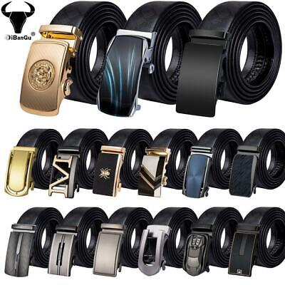 Formal Mens Belts Black Ratchet Leather Waistband Automatic Buckles Dress Straps