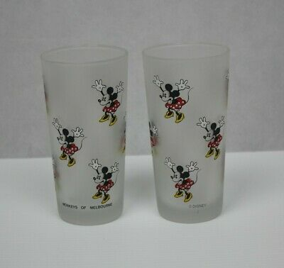 Monkeys of Melbourne Vintage Minnie Mouse Glass Frosted Tumbler Set of Two