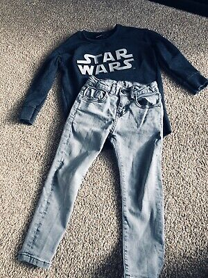boys zara age 4-5 Skinny Jeans And Star Wars Jumper