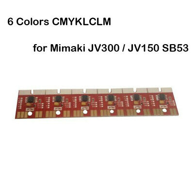 6 Colors CMYKLCLM Chip Permanent for Mimaki JV300 / JV150 SB53 Cartridge 1 Set