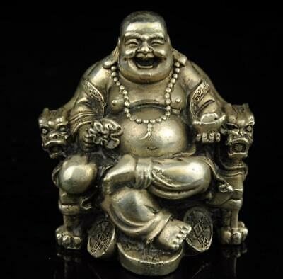 old china carved seated buddha copper plating silver statue Collectibles d02