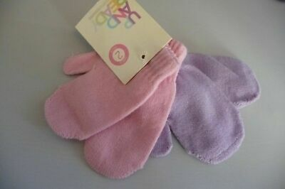 2 X Pairs Girls Toddler Childrens Mittens One Size 1 X PINK & 1 X LILAC BNWT