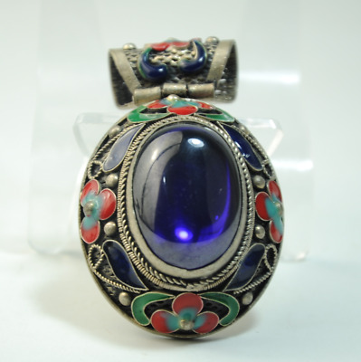 China old cloisonne Miao silver inlay natural purple gem pendant gift /Ab02