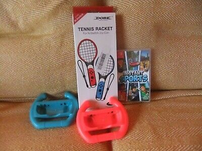 Instant Sports Game for Nintendo switch with 2 tennis rackets and 2 stering whee
