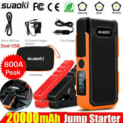 20000mAh 800A Car Jump Starter Rescue Battery Charger Power Booster 2*USB 12V