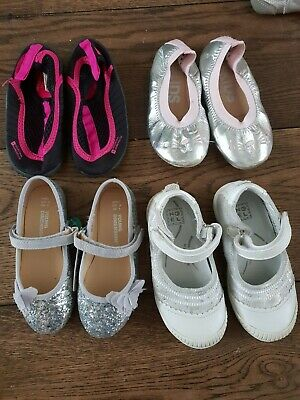 4 x Girls shoes Silver - toddler Size 7 Job Lot