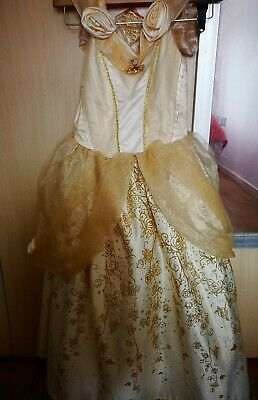 Genuine Disney Store glitteryBelle Dress Yellow - Gold - Satin - Red  age 5-6