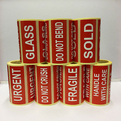 Postage Stickers Labels HANDLE WITH CARE, FRAGILE, SOLD, URGENT, GLASS, 7 Types.