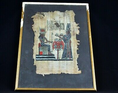 Egyptian Hieroglyphics Writing Art Papyrus Drawings Pharaohs on Framed Glass