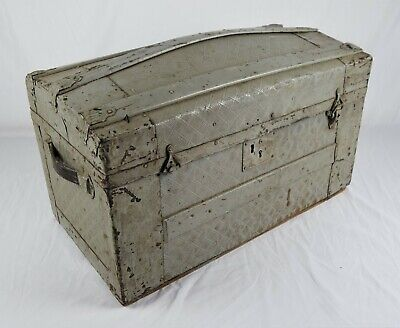 Antique 19th Century Dome Top Camel Back Steamer Trunk Ornate Embossed Tin