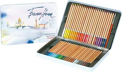White Nights Extra Fine Artists 48 Watercolour Pencils with Brush in Metal case