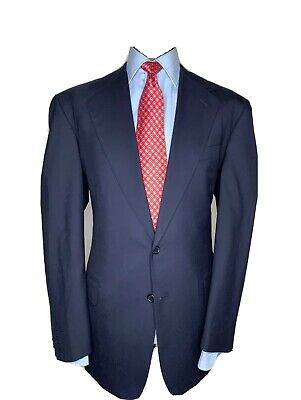 BESPOKE OXXFORD LUXURY DESIGNER SUIT FULL CANVASS PRIME MINISTERIAL NAVY 42x36