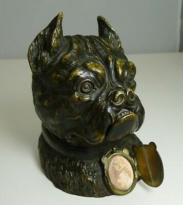 Magnificent Large Antique English Bronze Bulldog Inkwell c.1890 - Dogs