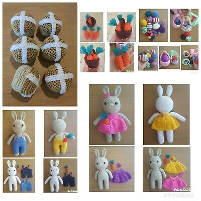 Hand crocheted Easter bunnies and Easter eggs, Hot Cross buns