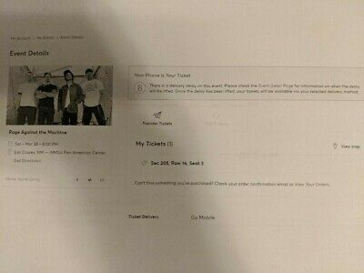 1 Rage Against the Machine Ticket 3/28/2020 Pan American Las Cruces NM Sect 205