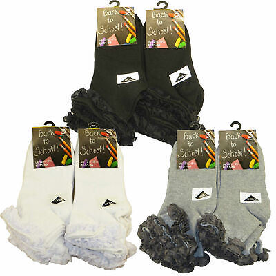 3,6,12 Pairs Girls Kids Socks Lace Top Cotton Rich Trainer School White Grey Blk