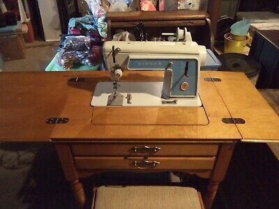 Vintage Singer Sewing Machine Model 604E Table & Stool - Touch & Sew