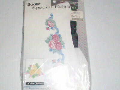 BUCILLA Pillow Cases Stamped Embroidery/Needlepoint 64637 Roses & Ribbon