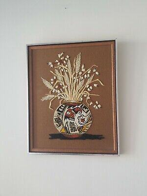 Framed Needlework Art Crewel Embroidery Pottery Mexico Native American vintage
