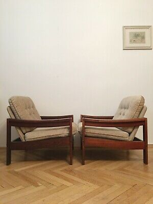 Large Nude/Brown Vintage Armchairs, 1960s, pair with one stool